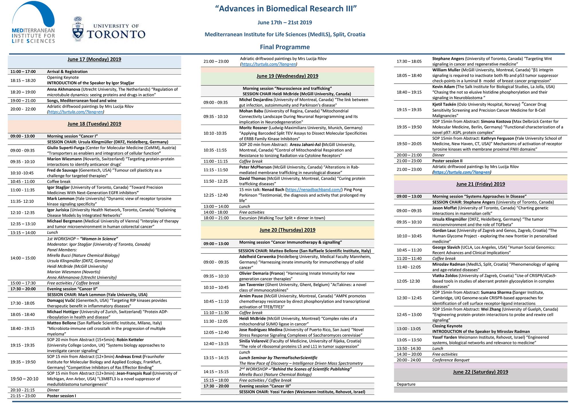 Program konferencije 'Napredak u biomedicinskim istraživanjima'
