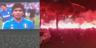 EKSKLUZIVNI VIDEO: Navijači Napolija ispred stadiona skandiraju Diegu, Riječane dočekala velika slika Maradone na semaforu!
