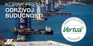 CEMEX pruža rješenja s nižom ugljičnom emisijom iz svoje obitelji Vertua® za jedan od najvećih regionalnih infrastrukturnih projekata - Pelješki most