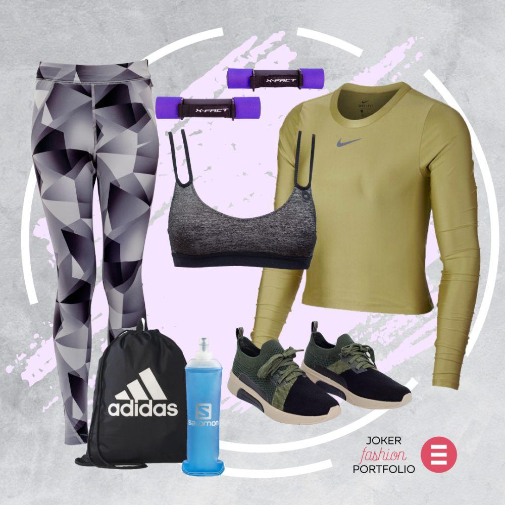 Majica Nike – Nike Store, 459 kn; top Nike – Nike Store, 299 kn; hlače Nike – Nike Store, 549 kn; utezi – Hervis, 99,99 kn; ruksak Adidas – Hervis, 99,99 kn; tenisice Skechers, ShoeBeDo, 434,56 kn; sportska boca Salomon – Hervis, 159,99 kn