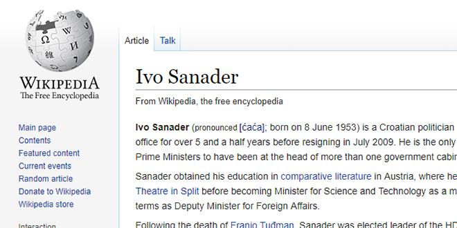 GLOBALNI ĆAĆA: Pogledajte što o Sanaderu piše na Wikipediji na engleskom jeziku