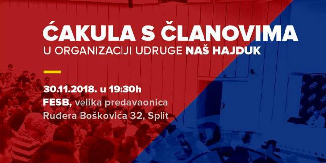 Ćakula članova udruge Naš Hajduk s vodstvom HNK Hajduk Split zakazana za 30. studenog