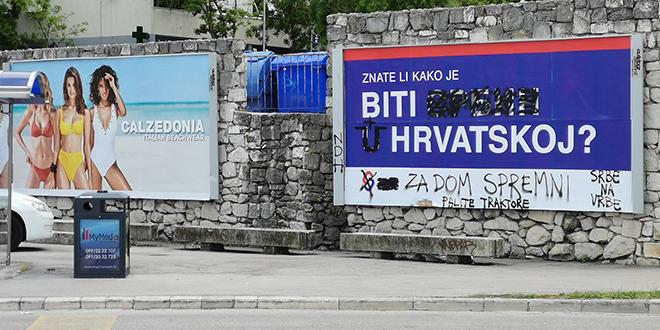 ZNATE LI KAKO JE BITI SRBIN U HRVATSKOJ? Plakat SDSS-a u Splitu osvanuo s natpisima NDH, za dom spremni, Srbe na vrbe i palite traktore