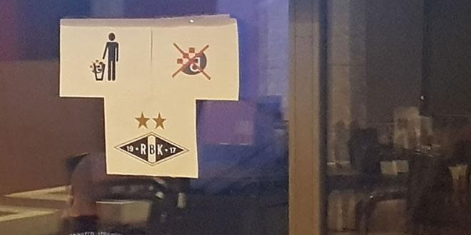 NA DAN UTAKMICE: U splitskom kafiću istaknuta obilježja norveškog kluba, a prekrižen grb Dinama