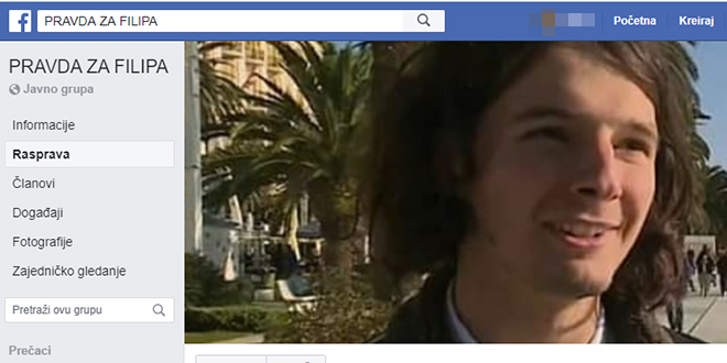 Pokrenute Facebook grupe 'Pravda za Filipa' i 'Heroj, a ne zločinac'