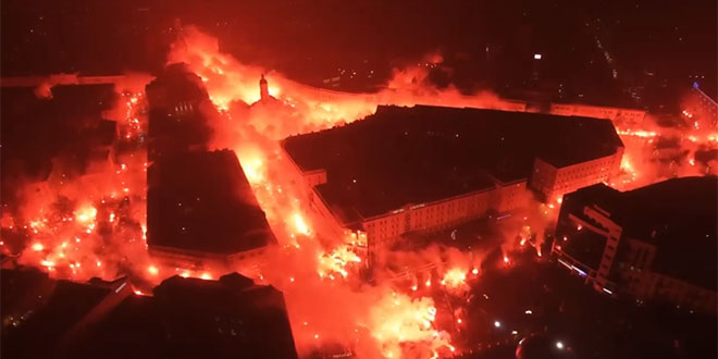 VIDEO: Navijači 'zapalili grad' povodom proslave 100. rođendana kluba