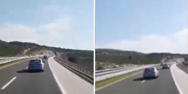 NEVJEROJATNA SNIMKA Na Dalmatini vozi suprotnim smjerom!