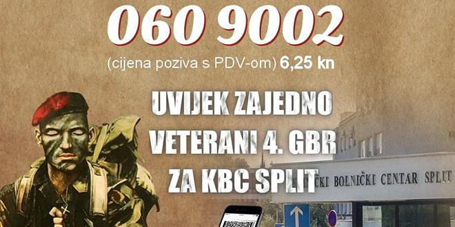 Veterani Četvrte za splitsku bolnicu: Aktiviran je i humanitarni broj, donirajte (bar) 6,25 kuna