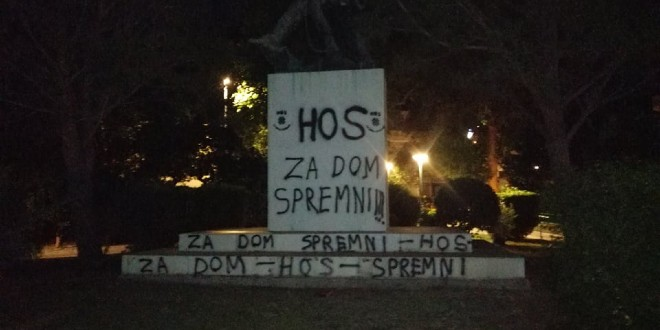 HOS U DUGOM RATU: Stradao spomenik palim borcima NOB-a