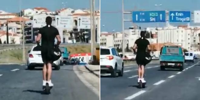 VIDEO IZ SPLITA Električnim romobilom po brzoj cesti