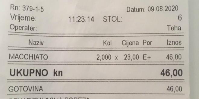 U Korčuli kava s mlijekom 23 kune: 'Pođite u Dubrovnik, tamo ćete je platiti 50 kuna'