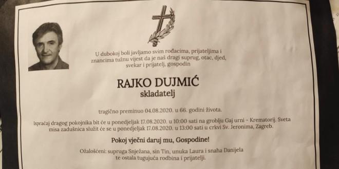 Snježana Dujmić na Facebooku podijelila osmrtnicu za svog tragično preminulog supruga Rajka
