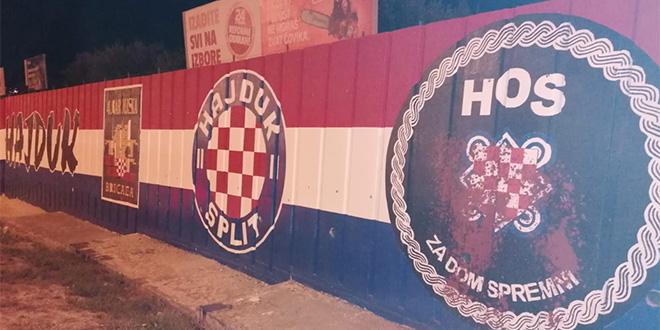 OŠTEĆEN HOS-ov GRB Netko je crvenom bojom polio mural na ulazu u Split