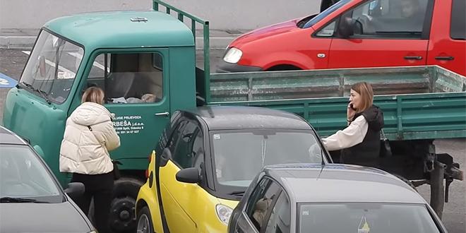 NOVA SKRIVENA KAMERA Kamionom zagradio automobile na parkiralištu, razgovor s vlasnikom 'tamića' je urnebesan