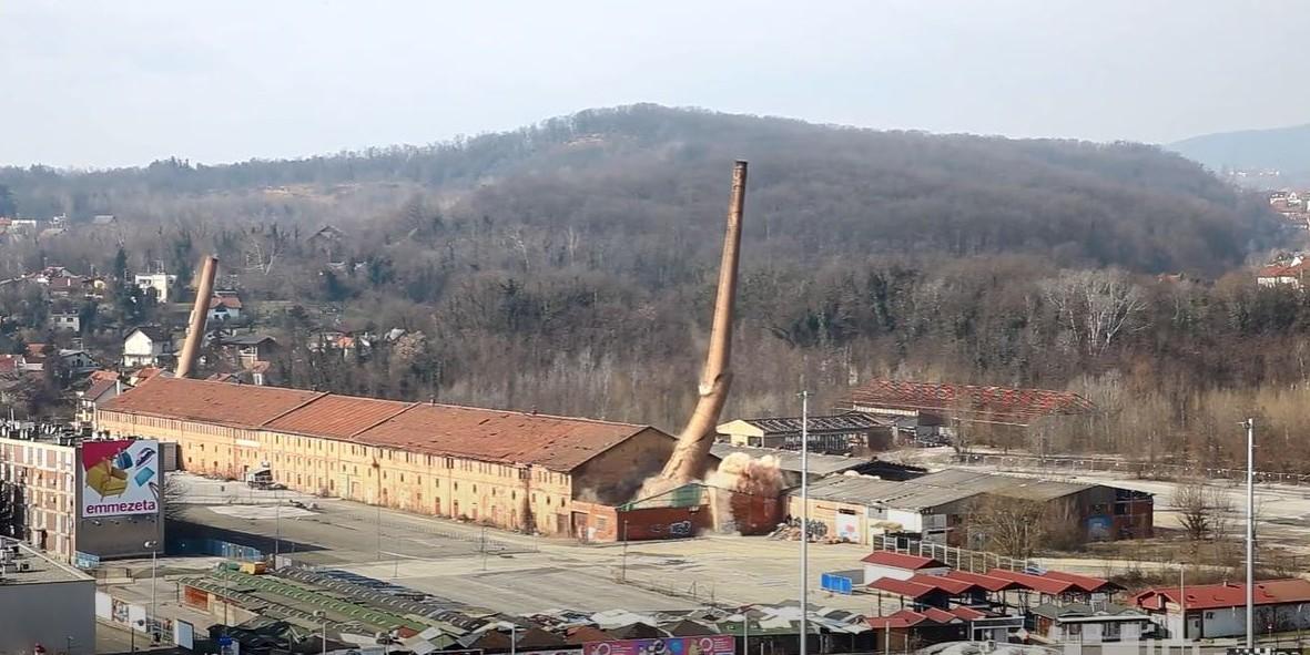 VIDEO Uklonjeni su dimnjaci stare ciglane na Črnomercu